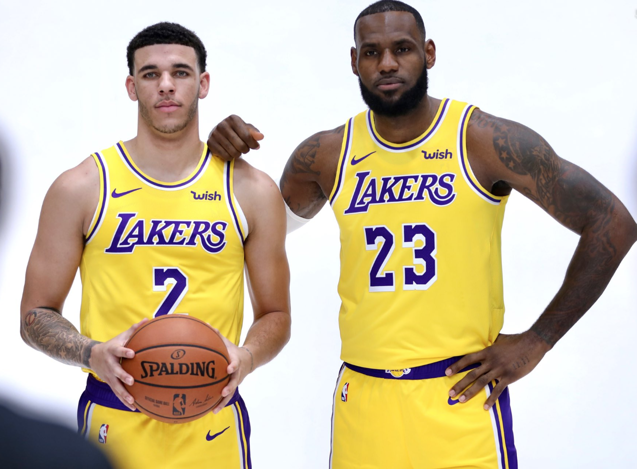 34fc6a5e0d5 Lonzo Ball (L) and LeBron James (R) will share the court for the first time  in the Warriors preseason game. (Courtesy Lakers Twitter)