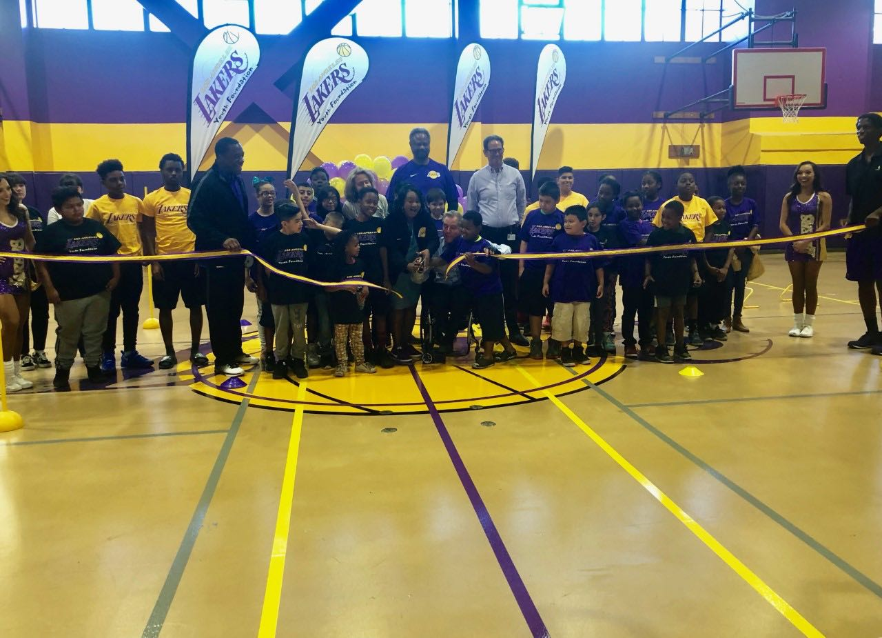 ac6e34f31 The Lakers Youth Foundation celebrates the court dedication at the Union  Rescue Mission with a ribbon cutting ceremony in downtown Los Angeles on  Saturday