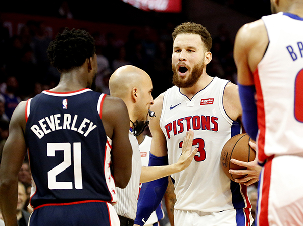 Detroit Pistons  Blake Griffin (23) exchanges words with Los Angeles  Clippers  Patrick Beverley (21) during an NBA basketball game between Los  Angeles ... c196d0ee00b