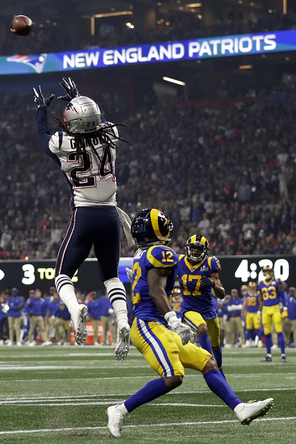 9b6a018b0 New England Patriots  Stephon Gilmore (24) intercepts a pass intended for  Los Angeles Rams  Brandin Cooks (12)