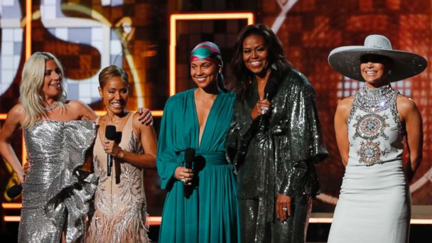 Michelle Obama Hits the Grammy Stage with a Group of Pop Icons