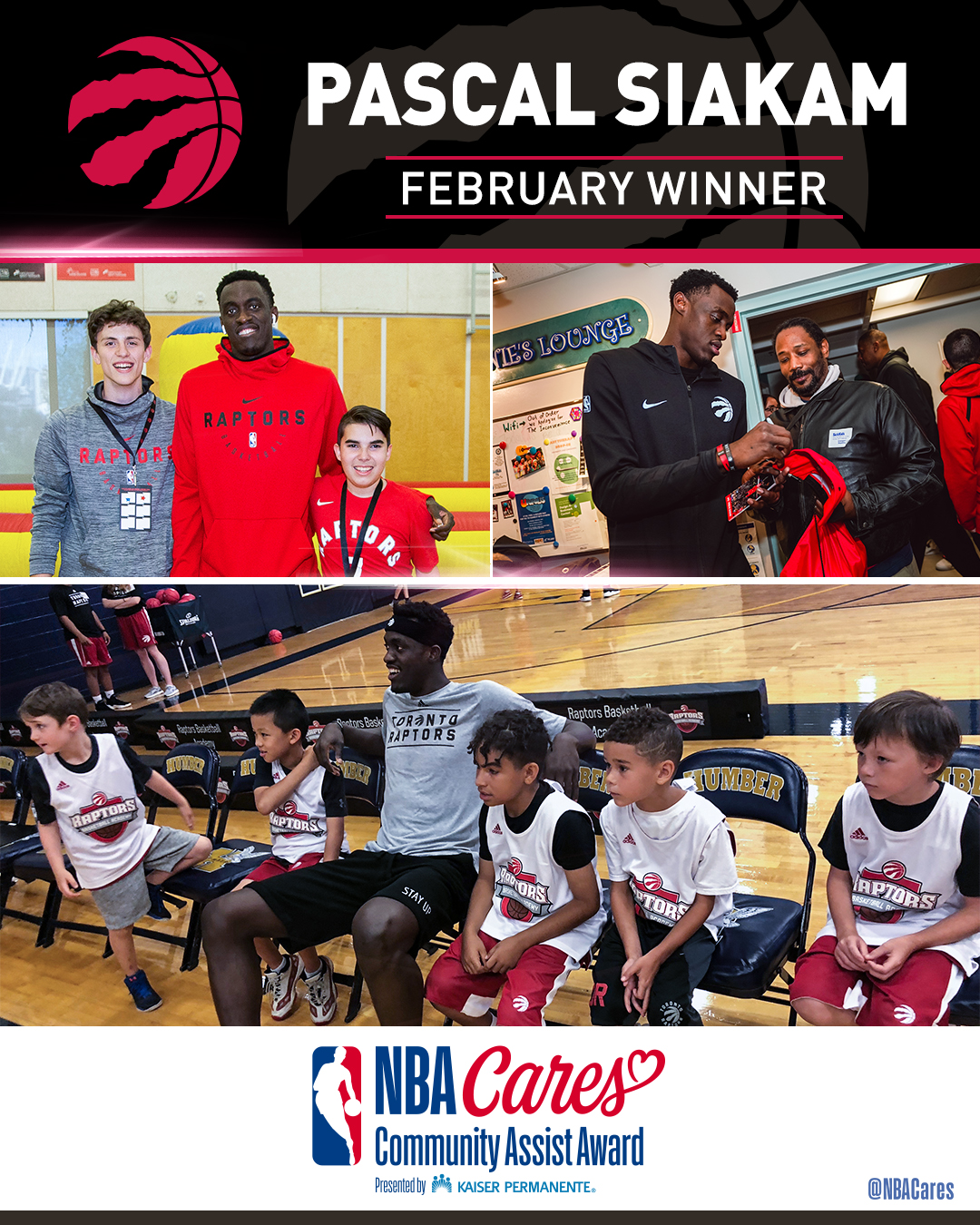 Toronto Raptors' Pascal Siakam Receives February NBA Cares Community Assist Award Presented By Kaiser Permanente