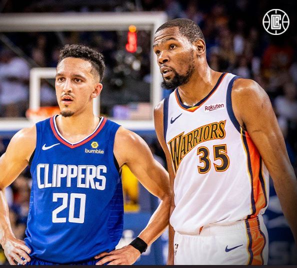 3bc45f29fad Clippers guard Landry Shamet (left) and Golden State Warriors forward Kevin  Durant (Twitter Photo)