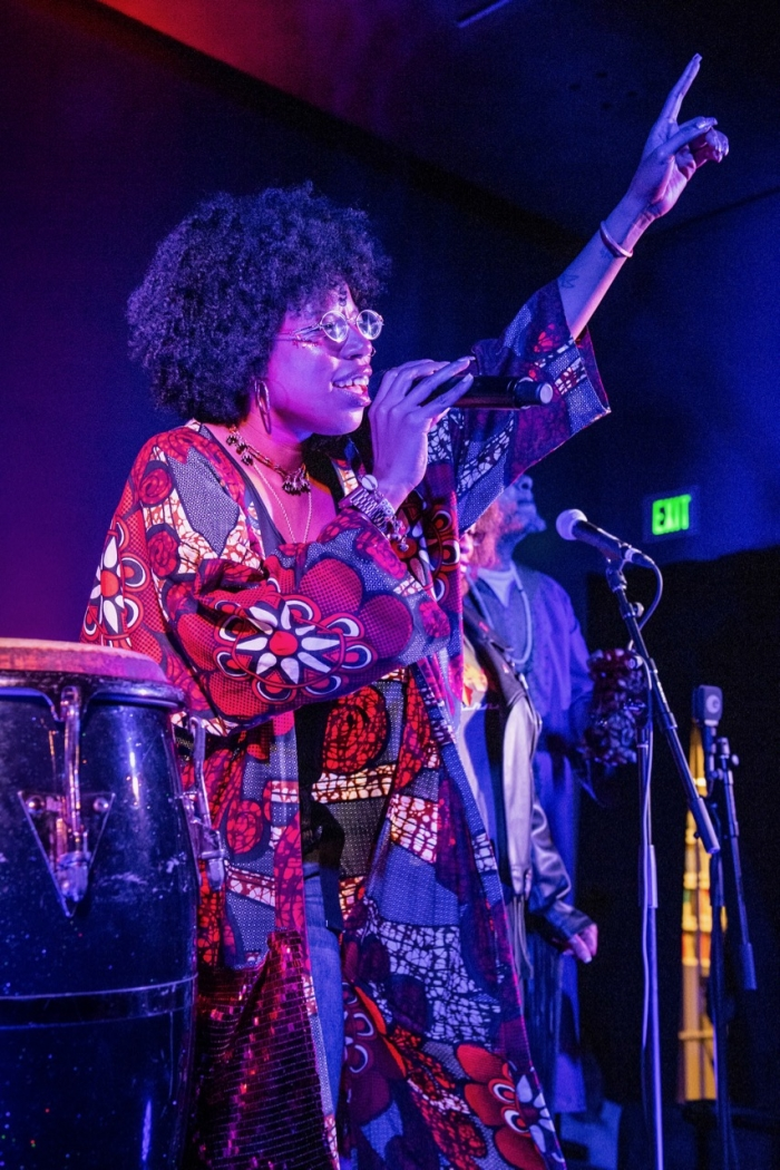 Singer-songwriter Georgia Anne Muldrow performs at 'Black Fire Sessions,' a night of jazz at The Broad celebrating the 'Soul of a Nation' exhibit. Photo by Timothy Norris/Courtesy of The Broad
