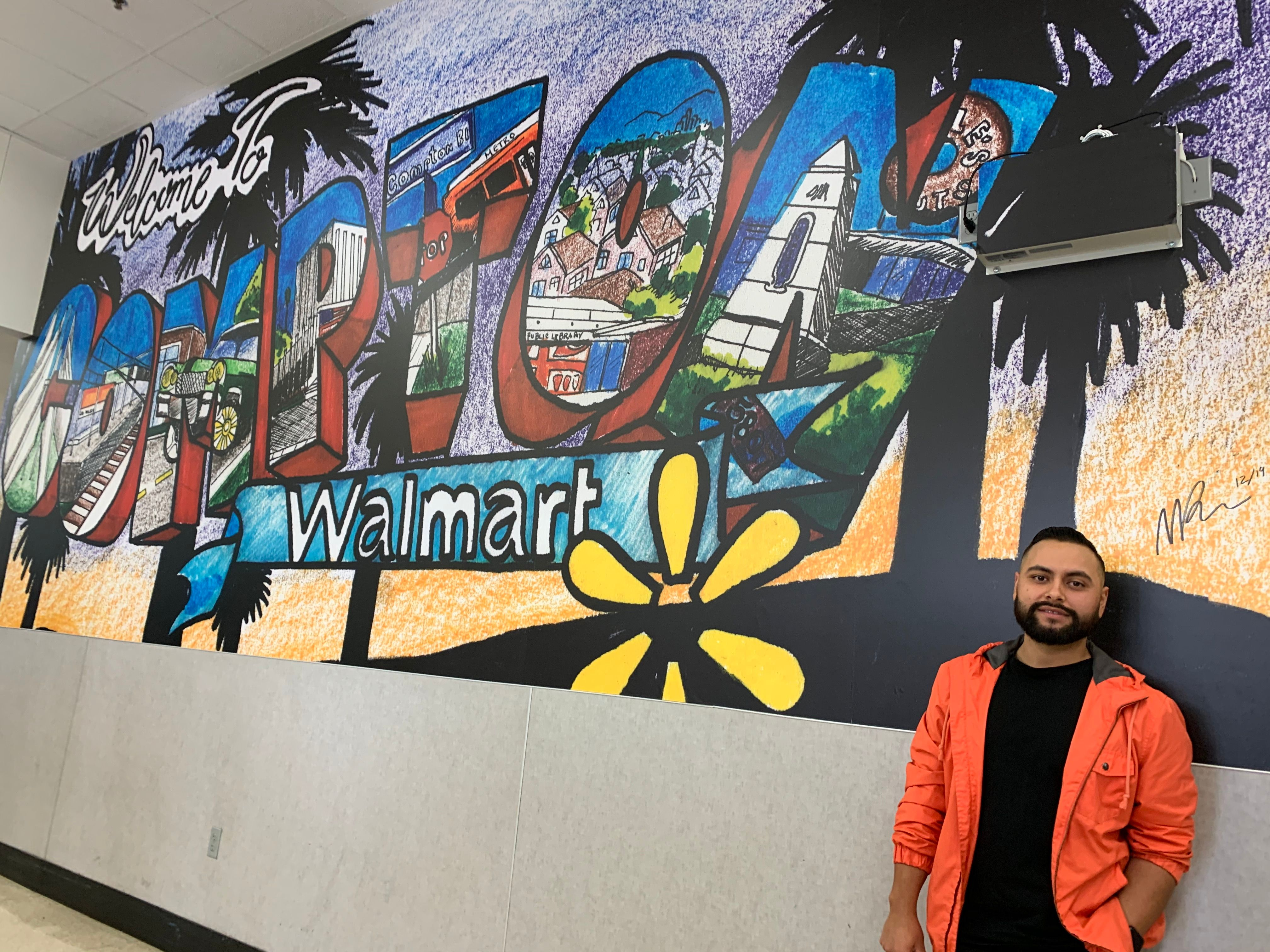 compton walmart unveils first community mural in