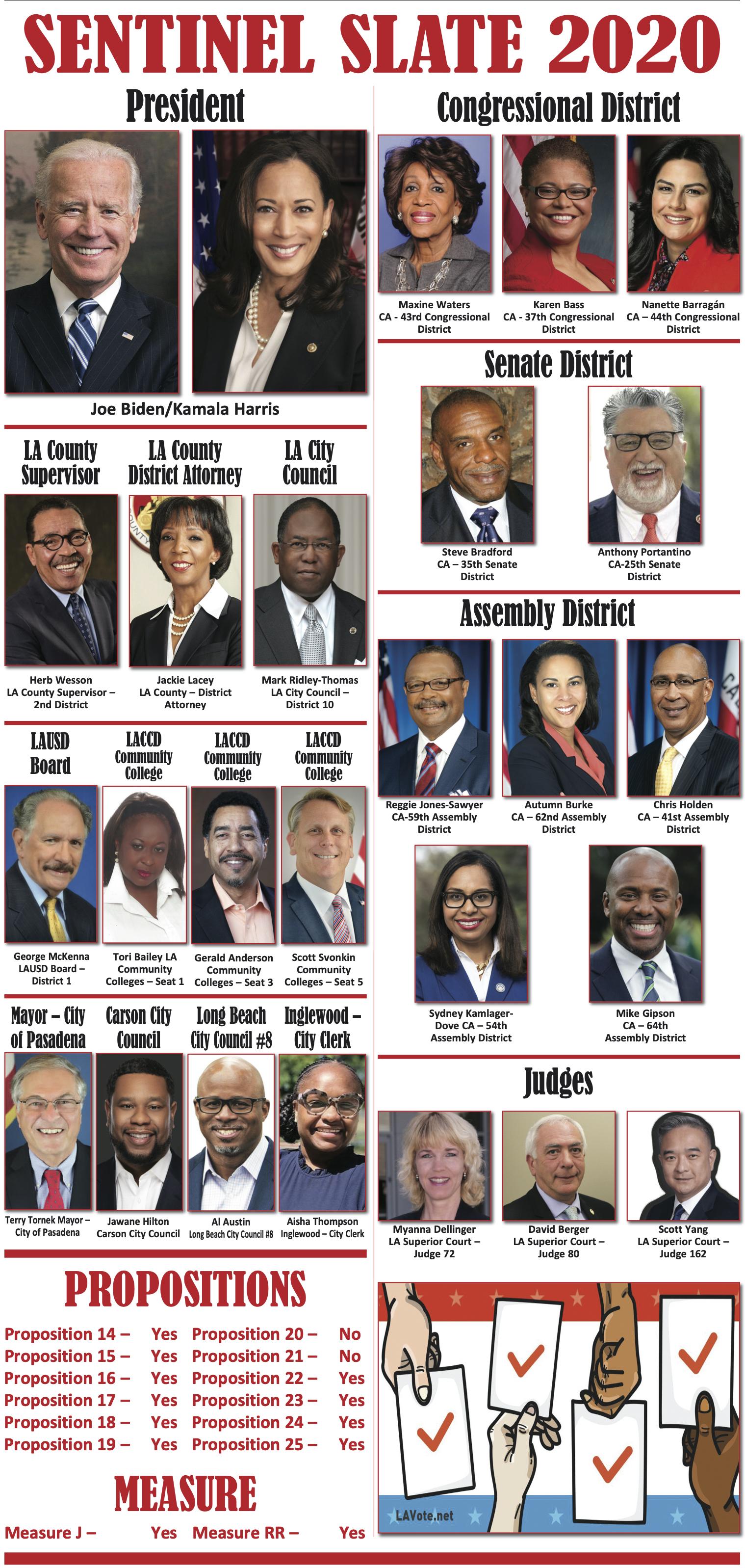 Los Angeles Sentinel 2020 Endorsement Slate Los Angeles Sentinel Los Angeles Sentinel Black News