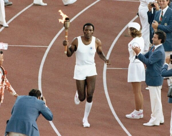 Los Angeles Memorial Coliseum Torch Lit in Honor of Rafer Johnson